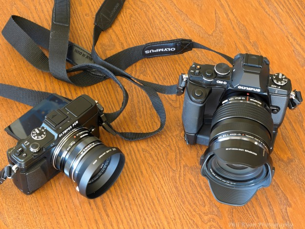 My main cameras today, the E-P5 and the OM-D E-M5