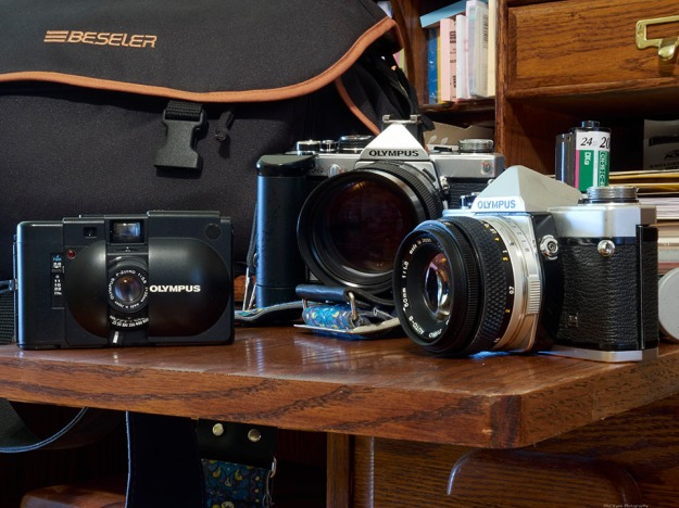 """My old OM-1 and OM-2, along with the XA """"point and shoot"""""""